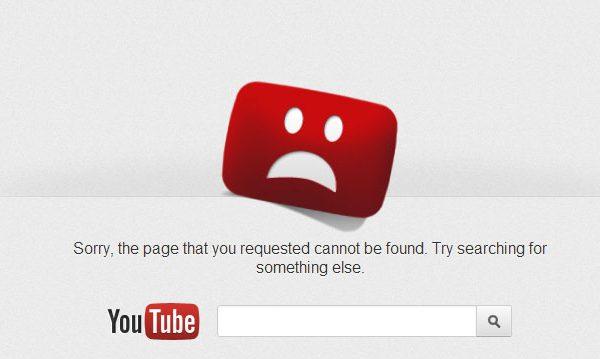 Erro 404 do Youtube